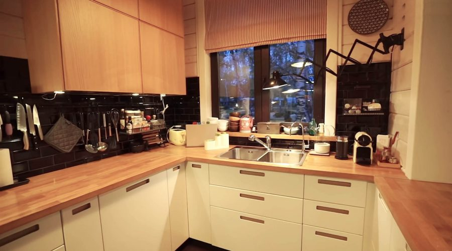 Corner kitchen with wooden-color