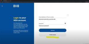 basic steps of creating an account IKEA